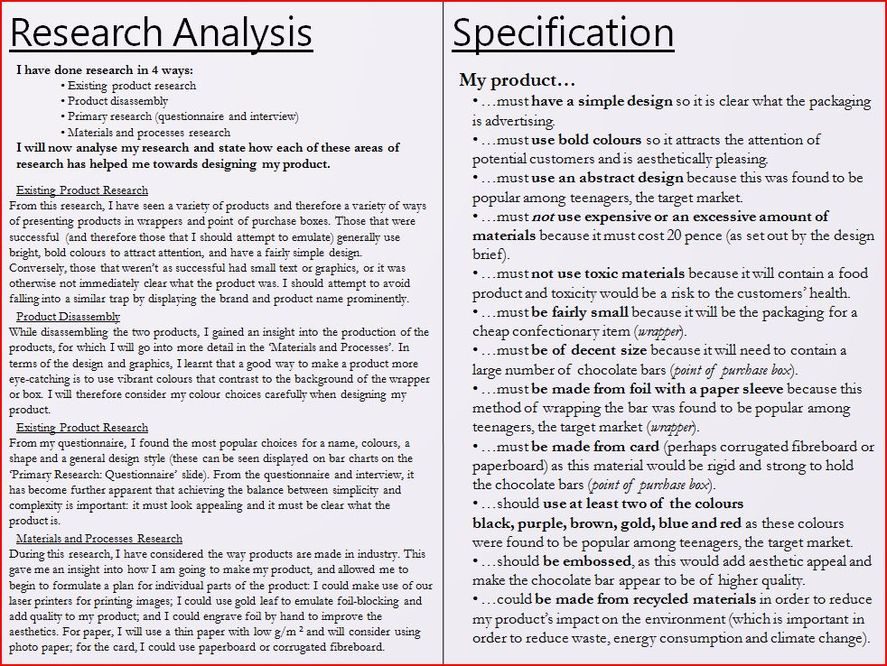 design technology coursework specification